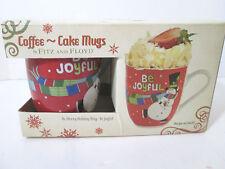 Fitz and Floyd Coffee Cake Mugs Be Joyful with Snowman 2013 Nib