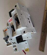 Lot of 3 DIN Mount Electrical Breakers Entrelec 2A 20A Single Pole Multi9 C60N