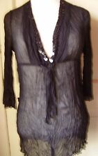 Next black long top goth party holiday cover up sheer crinkle fabric size 10