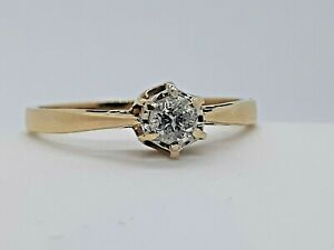 Antique 9 ct Gold and 20 point diamond  solitaire ring