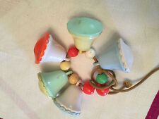 Vintage Baby Balls and Bells Rattle on cord 1950s