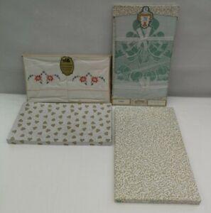 Vintage Irish Embroidered Pillowcases & Rayon Tablecloth Boxed - Unused