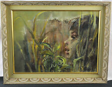 """Oil on Canvas - """"Crying Boy in the Field"""" by C. R. Petrauskas - Vintage 1962"""