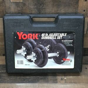 York 40 Pound Adjustable Dumbell Set Plate Weights Barbell w/ Case 140140