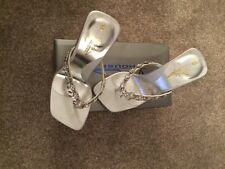 Stunning Sandal house high heeled silver diamanté shoes - size 3 - prom