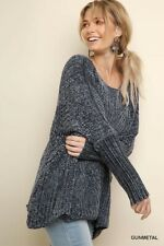 Umgee Oversized Chenille Ribbed Long Sleeve Pullover Sweater