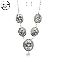 SOUTHWEST Gypsy WESTERN COWGIRL concho silver NECKLACE SET LONG CRYSTAL BLING