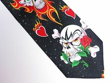 Holiday Skull Tie Halloween Valentine's Day Heart Rose Skeleton Black Necktie