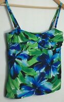 Sunsets Separates Tankini Swim Bathing Suit Underwire Top Sz L Floral Blue Green