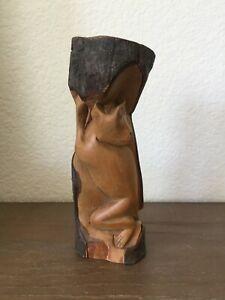 Vintage Balinese Wood Carving Monkey in Tree Log Bark Sculpture Rustic Raw Art