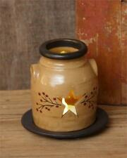 Primitive Star Crock with Cut-Out Stars & Red Berry Vine Tea Light Candle Holder