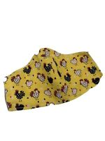 Handmade Child's Fabric Face Mask, Yellow With Chickens, Ages 3-6