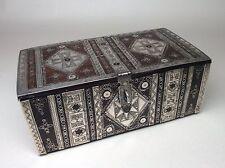 19th CENTURY Ebano Africano Maghreb ARGENTO BOX. BOITE EN ébène ET Argent origine