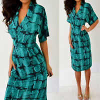 Green Black Short Sleeve Kimono Knee Length Dress 3 4 5 6 S