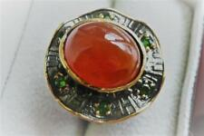 RUST CARNELIAN & GREEN CHROME DIOPSIDE 925 SILVER RHODIUM GOLD RING SZ R US 9