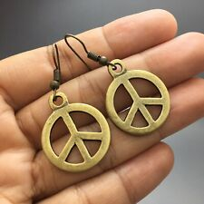 Peace Sign Vintage Earrings Hippie Boho Antique Brass Bronze Gold Tone Dangle