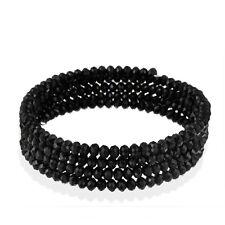 Black Glass Bead Coil Bracelet