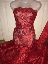 "5 MTR NEW RED SCALLOPED BRIDAL EMBROIDERED LACE NET FABRIC 52"" WIDE £44.99"