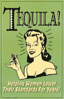POSTER : COMICAL :TEQUILA - HELPING WOMAN LOWER   - FREE SHIPPING ! #3099 RC48 E