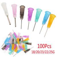 100Pcs Dispensing Needles Tips for Liquid Dispenser Syringe 18/20/23/22/25G