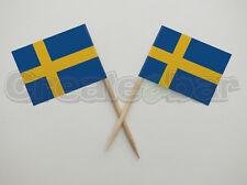 72 Swedish Flag Picks -  Buffet Sandwich Cupcake Toppers - SWEDEN Flags