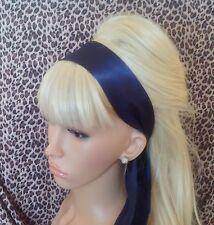 Navy Blue Satin Hair Head Band Self TIE Bow 50s CHIC 40V Glamour Stile Vintage