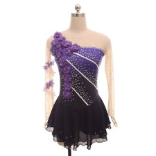 Figure Ice Skating Dress Women's Girls' Long sleeves Purple Flowers Dance Kids
