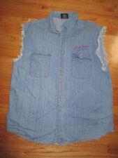"""LARRY the CABLE GUY """"GIT * R * DONE"""" Button Down (XL) DENIM Cut-Off Vest"""