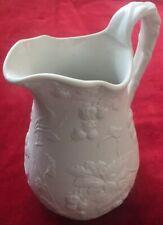 "Victorian 7"", 1.25 pt white Parian Ware jug, raspberry design, R lozenge mark 24"