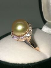 An Impressive 9.6mm Golden Pearl & Top Quality Diamond Ring in 18K Rose Gold