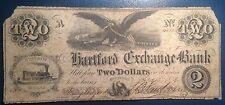 $2 1858 Hartford Exchange Bank Indiana Obsolete Note