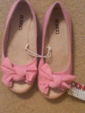 NWT LITTLE GIRLS BONGO BRIGHT PINK FABRIC SLIP ON SHOES WITH BOW SIZE 5 CUTE!