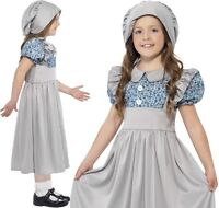 Childrens Girls Fancy Dress Victorian School Girl Costume Kids Childs Outfit New