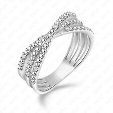 Silver w/ Rhodium Right-Hand X-Ring Criss-Cross Cz Crystal Cluster .925 Sterling