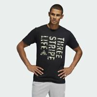 BRAND NEW $35 adidas Men's THREE STRIPE LIFE CAMOUFLAGE TEE DV1873 Black