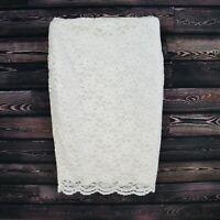 Worthington Skirt Womens Size 6 White Floral Rayon Knee Length Straight NWT $49