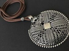 Bijoux long brown suede statement necklace with Large Tibetan ethnic pendant