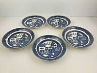 JOHNSON BROTHERS England WILLOW Blue 5.75 inch Saucer Plates Set of 5 Vintage