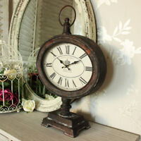 Antique retro metal mantle clock fob watch style shabby vintage chic mantlepiece