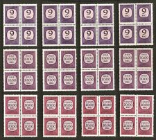 1967-1984 - PORTUGAL - Postage Due Stamps - 12 blocks w/ 4 stamps - NEW - XF