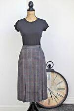 Vintage Grey Check Plaid Pleated Wool Pleated Midi Secretary Skirt Small 8 10