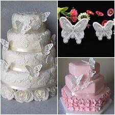 2Pcs Plastic Butterfly Cookie Cutter Cake Baking Fondant Sugarcraft Decor Mould