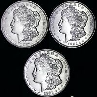 (3 PC LOT) 1921 P D S Morgan Silver Dollar XF / AU 90% SILVER FREE SHIPPING! d