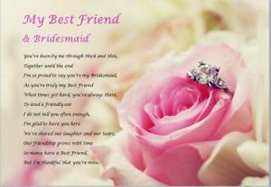 Best Friend & BRIDESMAID GIFT - Laminated Poem  (personalised bridesmaid gift)