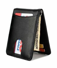 Slim Leather Front Pocket Wallet Money Clip with Pull Tab Slot and RFID Block...