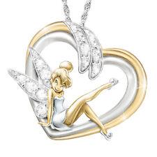 Fashion 925 Silver White Topaz Two Tone Gold Girl Pendant Choker Necklace Chain