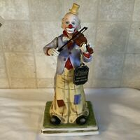 Melody In Motion Hand-Painted Bisque Porcelain Clown Playing Violin- No Sound