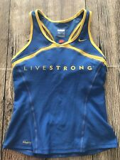 NIKE DRI FIT Womens Livestrong Lance Armstrong  Running Tank Top Blue Size Small