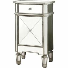 """Monarch Specialties Accent Chest 29""""H Brushed Silver With Mirror"""