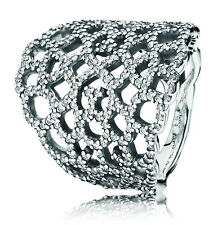 Pandora Shimmering Lace Silver & Zirconia Ring 190907CZ Size 52